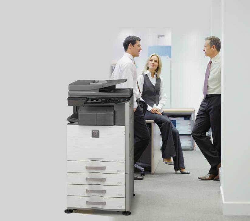 دستگاه کپی MX-453N شارپ دارای قابلیت های پرینت ، کپی ، اسکن و فکس است .bia2takhfif