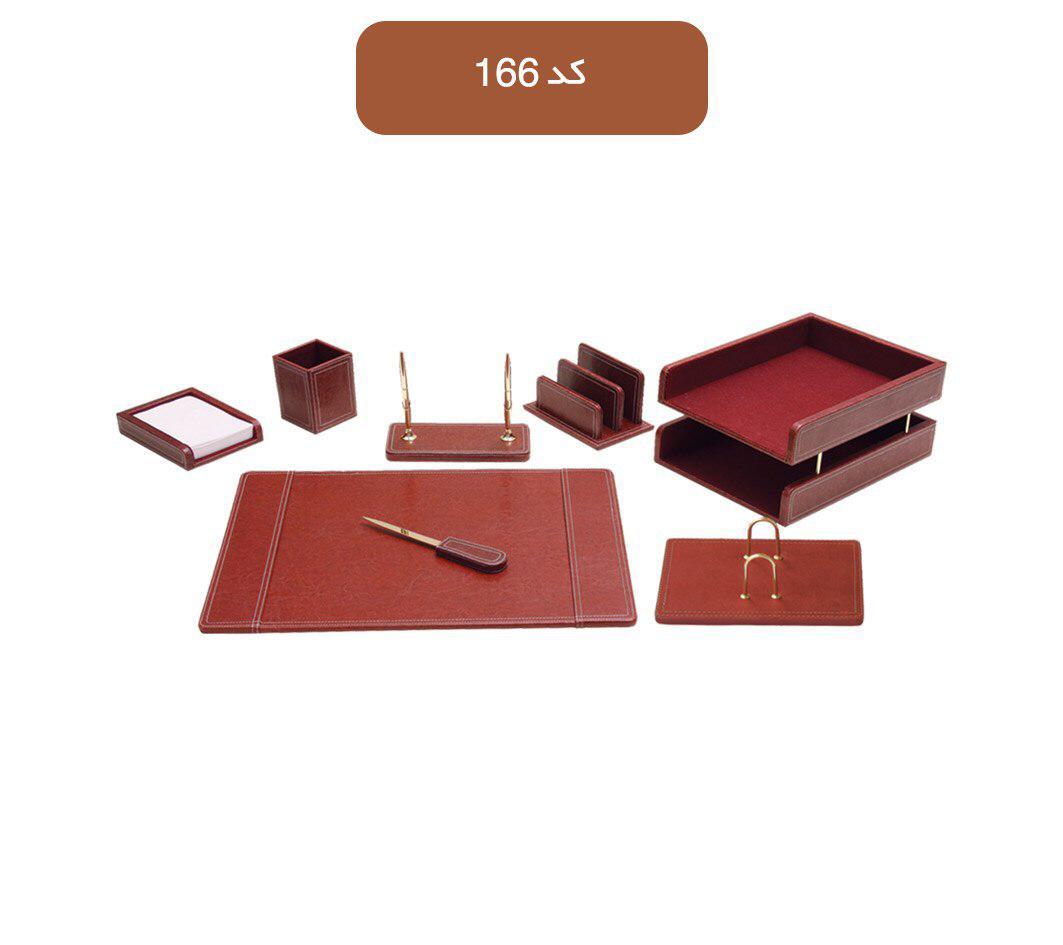 ست رومیزی اداری مدیریتی کد 166 ،لوازم اداری رومیزی که در انواع گوناگون و طراح های متنوع در بازار وجود دارد به شما کمک می کند تا میز کاری زیبایی داشته باشید.